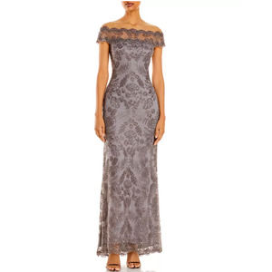 Tadashi Shoji Illusion Off Shoulder Lace Gown 6